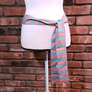 NWT Gap Pink Blue Striped Scarf Belt Silk Blend